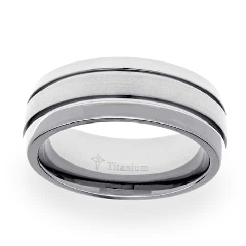 Men's Titanium Satin and High Polished Wedding Band (8 mm)