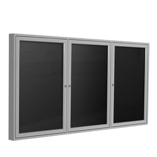 Satin Aluminum Frame Black Fabric 48-inch x 96-inch 3-door Enclosed Flannel Letterboard