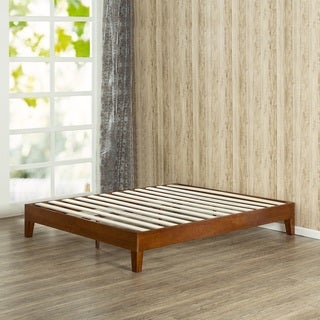 priage 12 inch deluxe wood queen size platform bed - Wood Bed Frames Queen