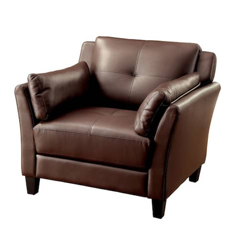 Furniture of America Pierson Double Stitched Faux Leather Club Chair