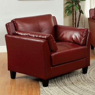 Link to Furniture of America Pierson Double Stitched Faux Leather Club Chair Similar Items in Living Room Furniture