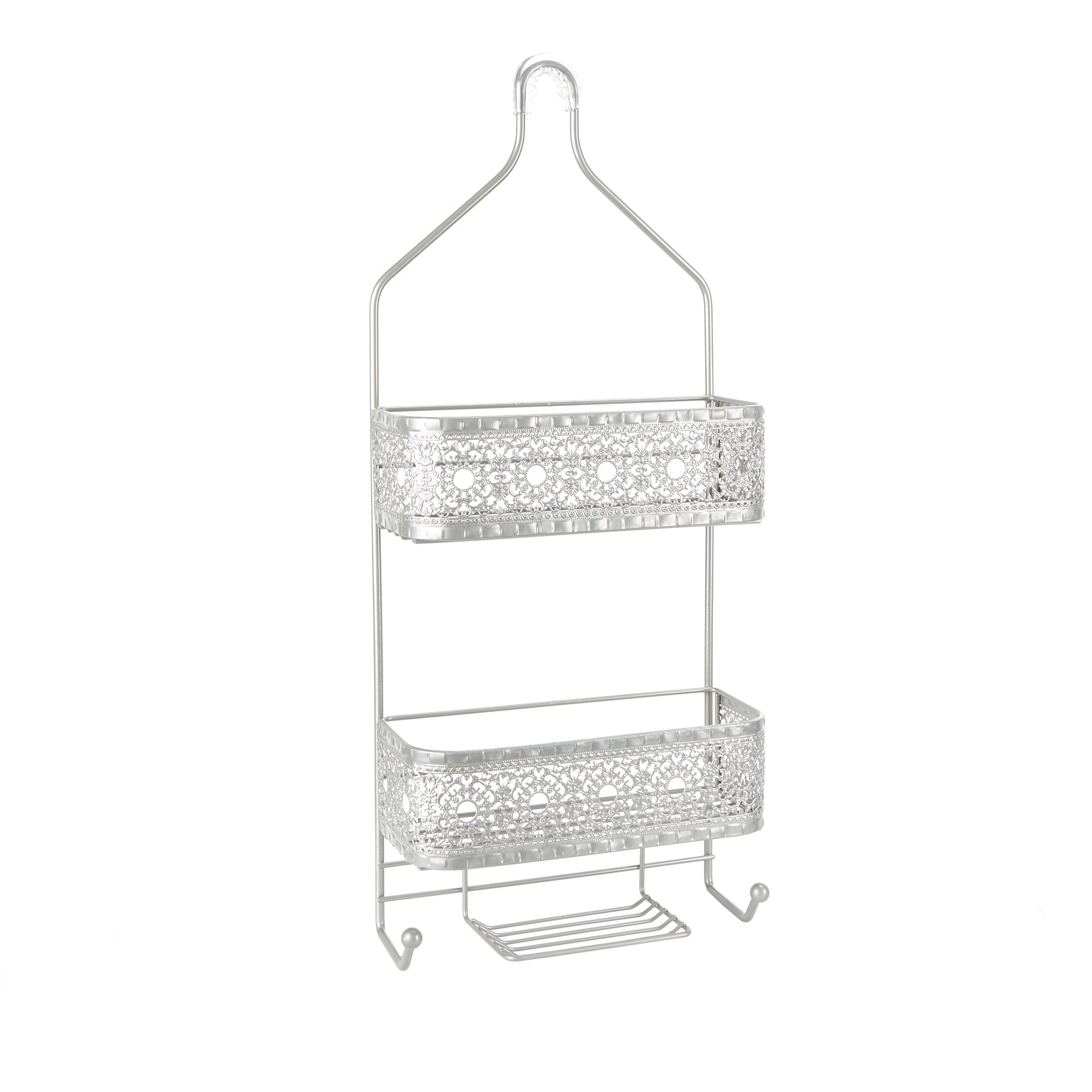 Filigree Bathroom Collection 2-Shelf Shower Caddy with Soap Holder ...