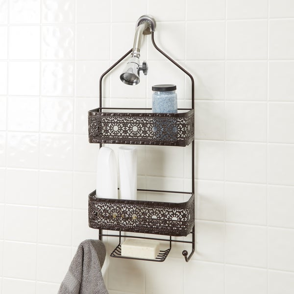 Filigree Bathroom Collection 2 Shelf Shower Caddy With Soap Holder