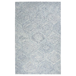 London Blue Wool Hand-tufted Rug (5' x 8') - 5' x 8'