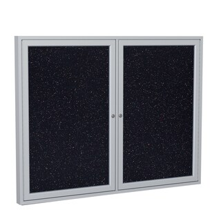 Ghent Confetti Recycled Rubber 2-door Enclosed Bulletin Board