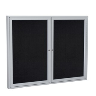"Ghent Black Recycled Rubber 48"" x 60"" 2-door Aluminum Frame Bulletin Board"