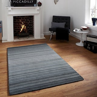 Grey Stripe Wool Hand-loomed Rug (5' x 8')