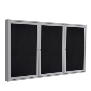 "Ghent Black Recycled Rubber 3-Door 36"" x 72"" Enclosed Bulletin Board"