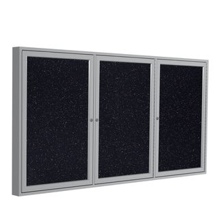 """Ghent Confetti Recycled Rubber 36"""" x 72"""" 3-door Enclosed Bulletin Board w/ Aluminum Frame"""
