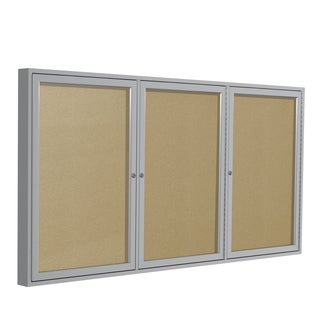 "3-Door Satin Aluminum Frame-Enclosed 36"" x 72"" Vinyl Bulletin Board - Caramel"