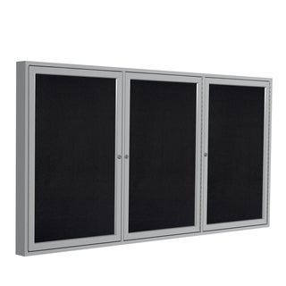 Satin Aluminum Frame Black Recycled Rubber 48-inch x 96-inch 3-door Enclosed Bulletin Board