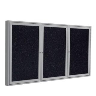 Satin Aluminum Confetti Recycled Rubber 3-door Enclosed Bulletin Board