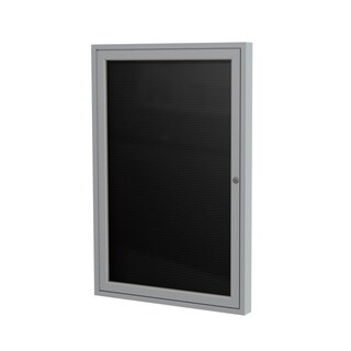 Satin Aluminum Frame Black Fabric 36-inch x 30-inch 1-door Enclosed Flannel Letterboard