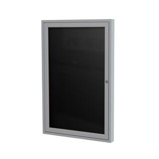 Ghent Black Satin Aluminum Frame 36-inch x 36-inch 1-door Enclosed Flannel Letterboard