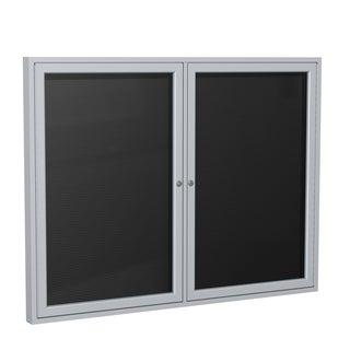Satin Aluminum and Black Flannel 2-door Enclosed Letter Board (36 x 48)