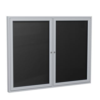 Satin Aluminum Frame Black Fabric 36-inch x 60-inch 2-door Enclosed Flannel Letterboard