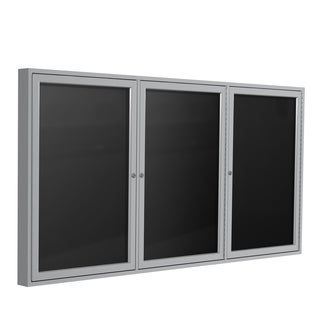 Ghent Black Flannel/Satin Aluminum Frame 36-inch x 72-inch 3-door Enclosed Letterboard