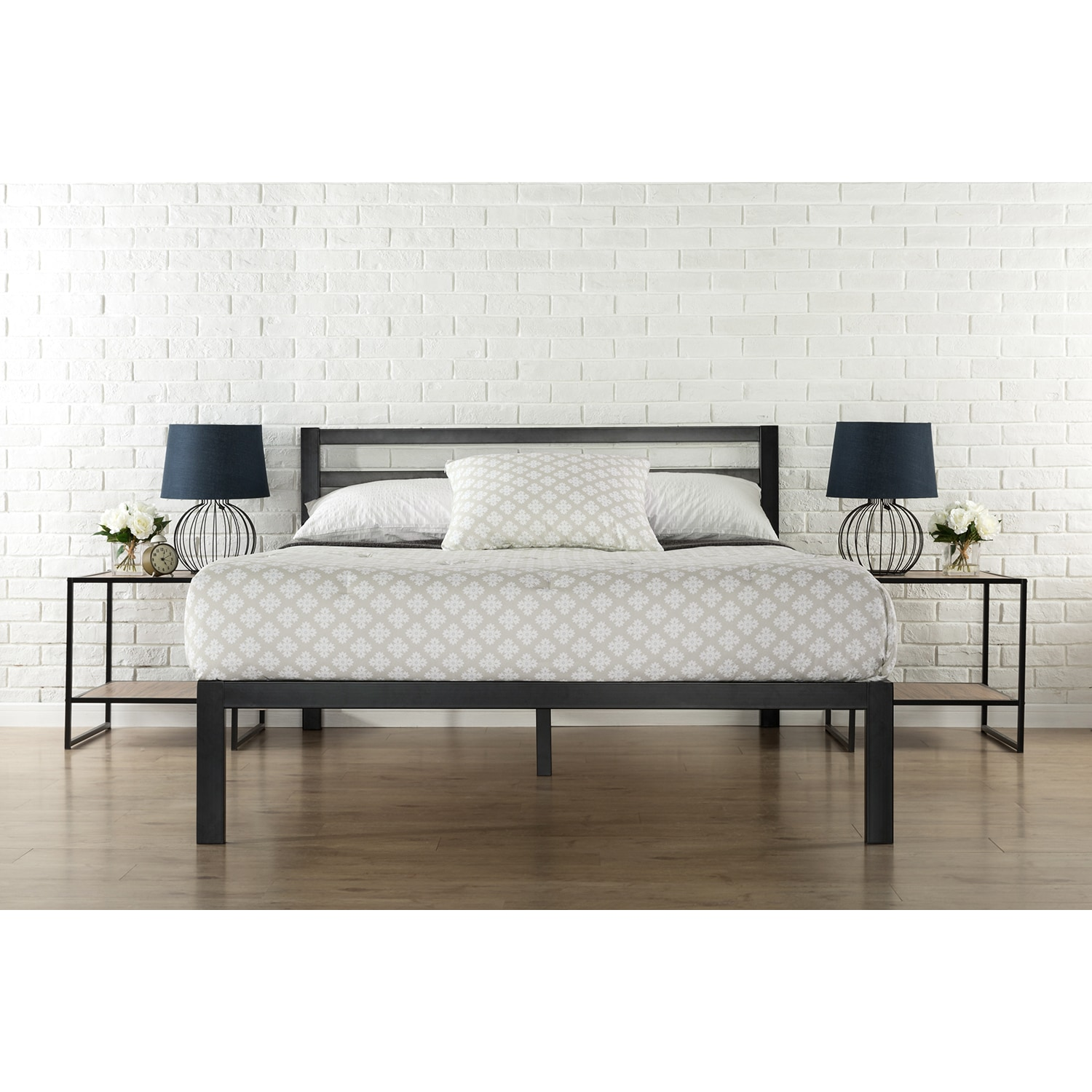 Priage 3000H Twin-Size Platform Bed Frame with Headboard ...
