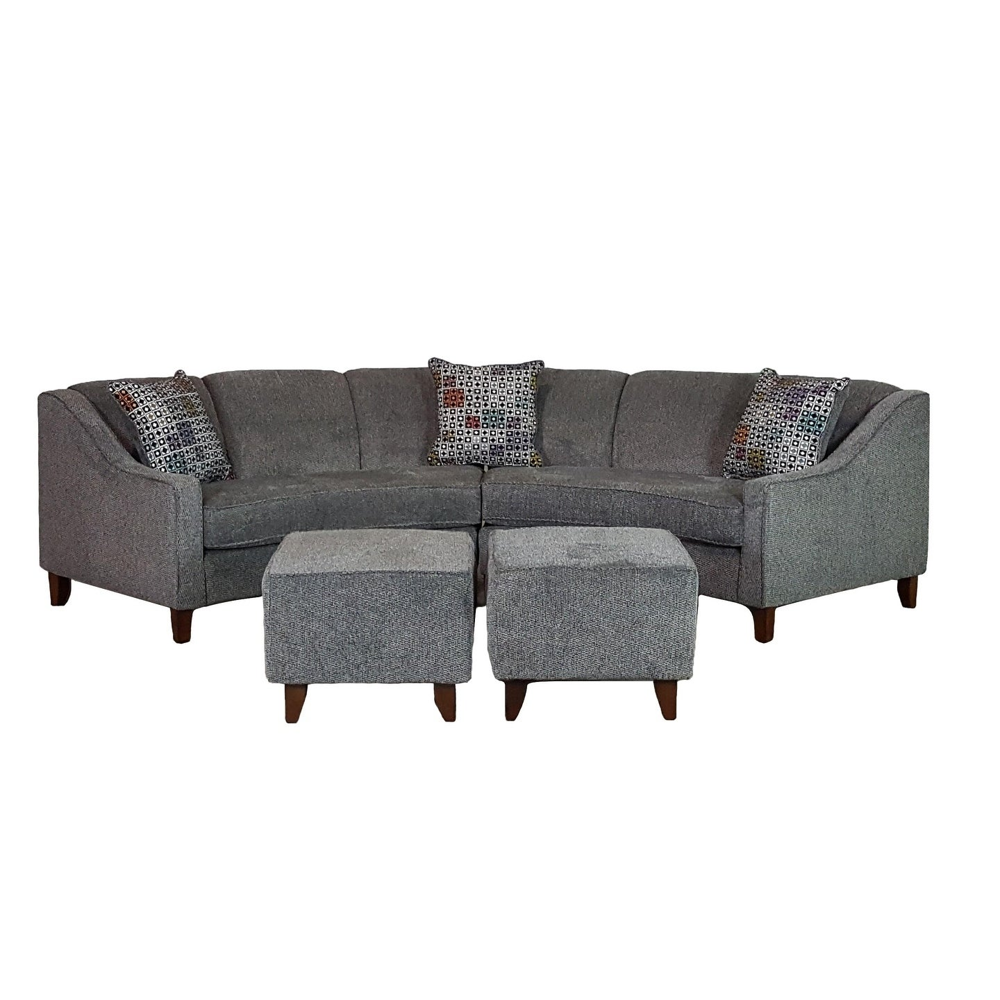 Sofa Trendz Bindel Grey Curved Sectional Sofa with Ottoma...