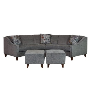 Sofa Trendz Bindel Grey Curved Sectional Sofa with Ottoman Set