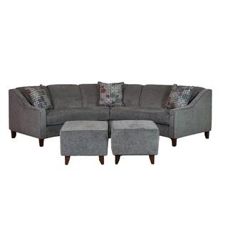 Sofa Trendz Bindel Grey Curved Sectional Sofa with Ottoman Set