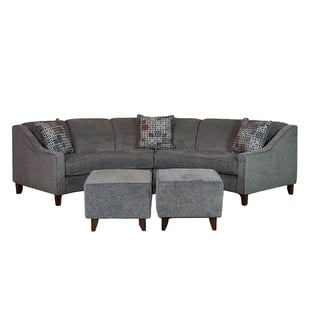 Sofa Trendz Bindel Grey Curved Sectional With Ottoman Set
