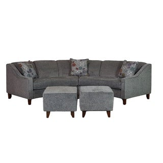 Sofa Trendz Bindel Grey Curved Sectional Sofa with Ottoman Set  sc 1 st  Overstock.com : grey leather sectional couch - Sectionals, Sofas & Couches