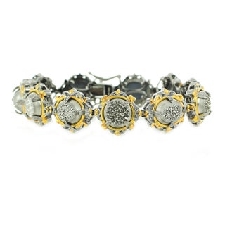 One-of-a-kind Michael Valitutti Palladium Silver Oval and Round Druzy Tennis Bracelet