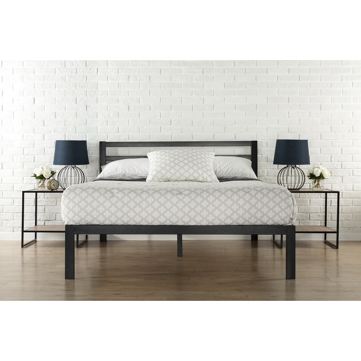 Priage 3000H King-Size Platform Bed Frame with Headboard ...