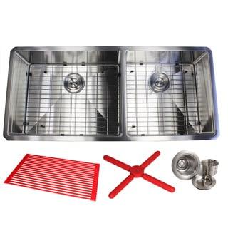 "Ariel 42"" Stainless Steel 15mm Radius Double 60/40 Bowl 16 Gauge Undermount Kitchen Sink Complete Combo Accessories"