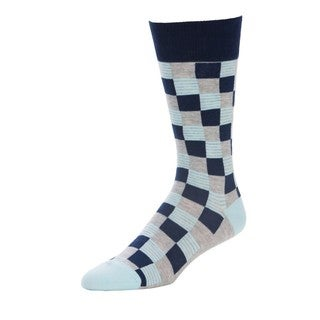 Checker-style Blue/Yellow Cotton-blended Challenger Sock
