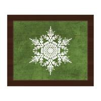 Snowflake on Olive Green Framed Canvas Wall Art