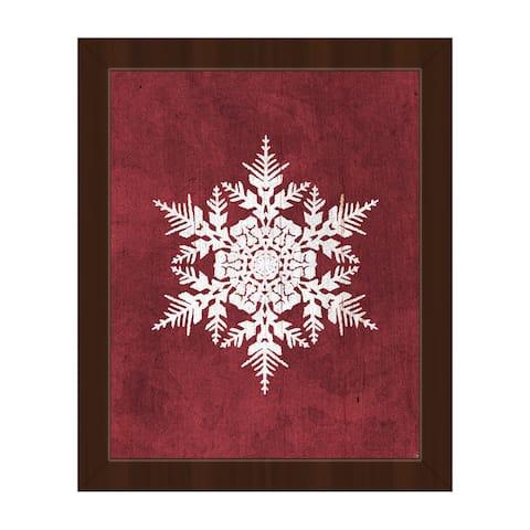 'Snowflake on Cinnamon Red' Framed Canvas Wall Art