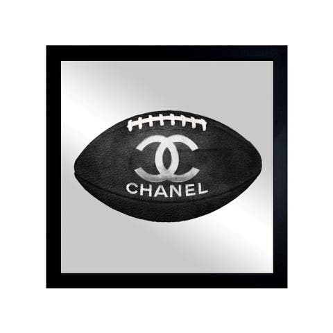Oliver Gal 'Fashion Football' Mirror Art - Black - 20 x 20