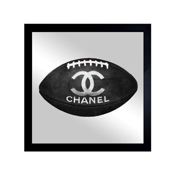 Oliver Gal 'Fashion Football' Mirror Art - Black - 20 x 20