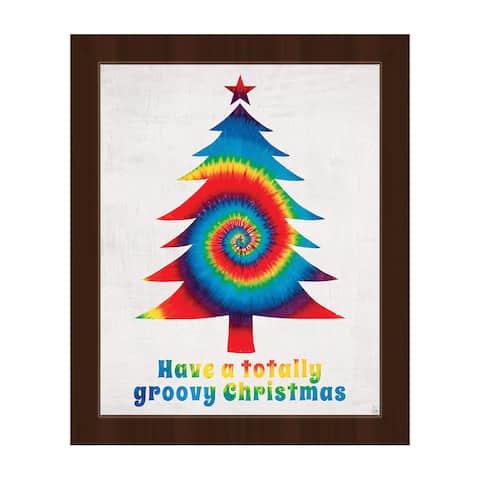 Groovy Christmas Primary Framed Canvas Wall Art