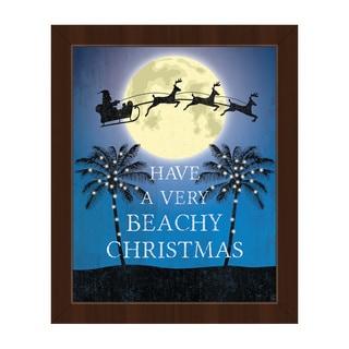 'A Very Beachy Christmas' Framed Canvas Wall Art