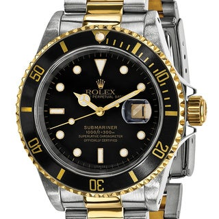 Certified Pre-owned Rolex Steel and 18 Karat Yellow Gold Men's Submariner Black Dial Watch