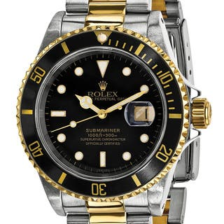 Certified Pre-Owned Rolex Men's Steel and 18 Karat Yellow Gold Submariner Black Dial Watch|https://ak1.ostkcdn.com/images/products/13829439/P20474641.jpg?impolicy=medium