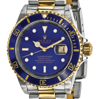 Certified Pre-owned Rolex Steel and 18 Karat Yellow Gold Mens Submariner Blue Dial Watch