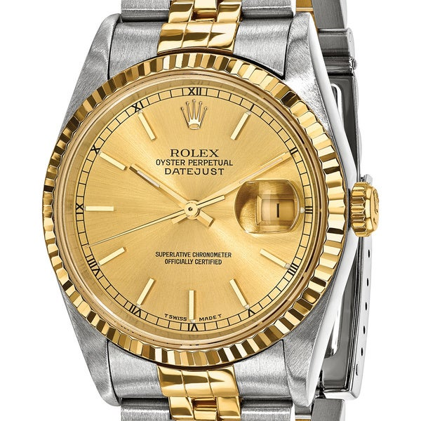 Quality Pre-owned Rolex Mens 18k Yellow Gold and Steel Champagne Dial Watch. Opens flyout.