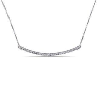 Miadora 14k White Gold 1/5ct TDW Diamond Horizontal Bar Necklace