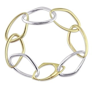 Miadora Signature Collection 18k 2-Tone White and Yellow Gold Geometric Link Bracelet