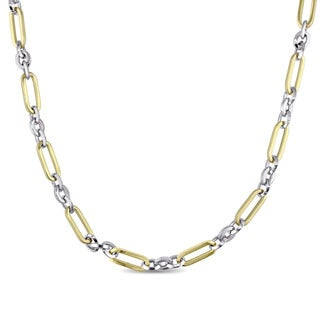 Miadora Signature Collection 18k White and Yellow Gold Two-Tone Alternating Link Necklace