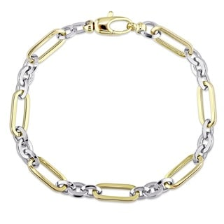 Miadora Signature Collection 18k 2-Tone White and Yellow Gold Alternating Geometric Link Bracelet