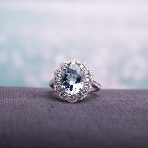 Miadora Signature Collection 14k White Gold Aquamarine and 3/4ct TDW Diamond Vintage-Inspired Floral - Blue