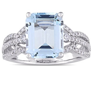 Miadora Signature Collection 14k White Gold Octagon-Cut Aquamarine and 1/2ct TDW Diamond Interlaced Ring (G-H, SI1-SI2)