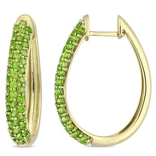 Miadora Signature Collection 10k Yellow Gold Chrome Diopside Hoop Earrings