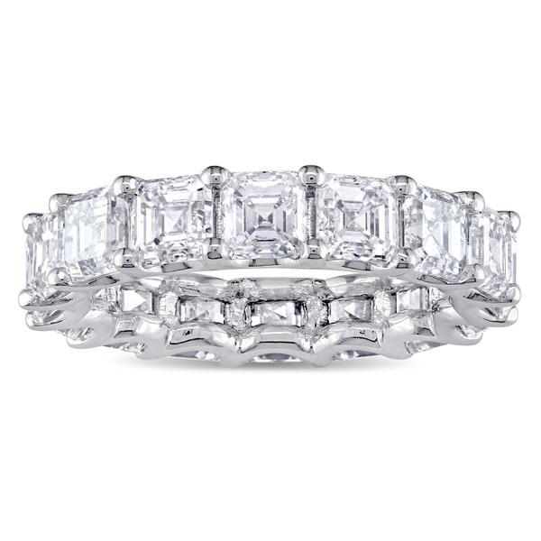 Miadora Signature Collection 18k White Gold 5 1/10ct TDW Asscher-Cut Diamond Full Eternity Ring