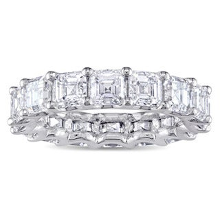 Miadora Signature Collection 18k White Gold 5 1/10ct TDW Asscher-Cut Diamond Full Eternity Ring